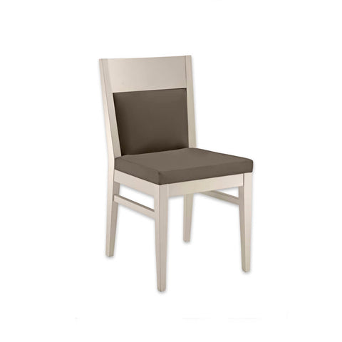 Leuven White Upholstered Dining Chair with Full Show Wood Back and Brown Padded Seat 3045 RC2