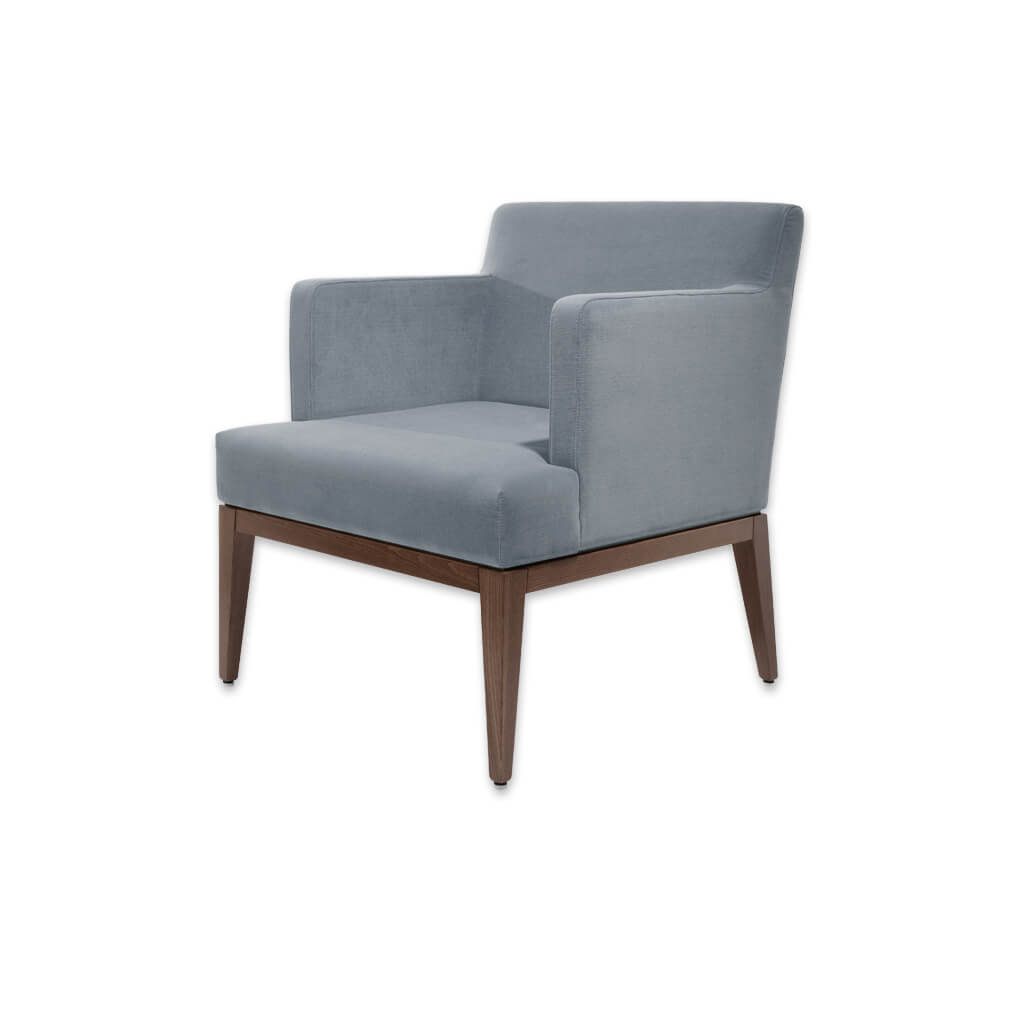 Libera Upholstered Light Blue Lounge Chair with Deep Seat Pad and Inset Arms 1037 LC2 - Designers Image