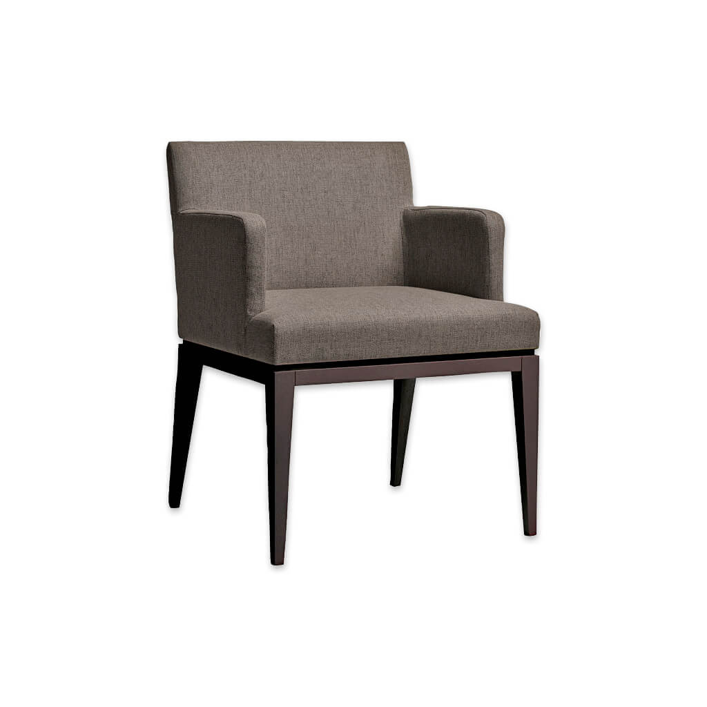 Libera Upholstered Brown Fabric Tub Chair With Show Wood Angular Tapered Legs 2035 TC1 - Designers Image
