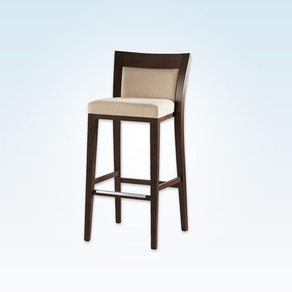 Logica square cream bar stool with show wood back and wooden frame with metal kick plate 6025 BR2