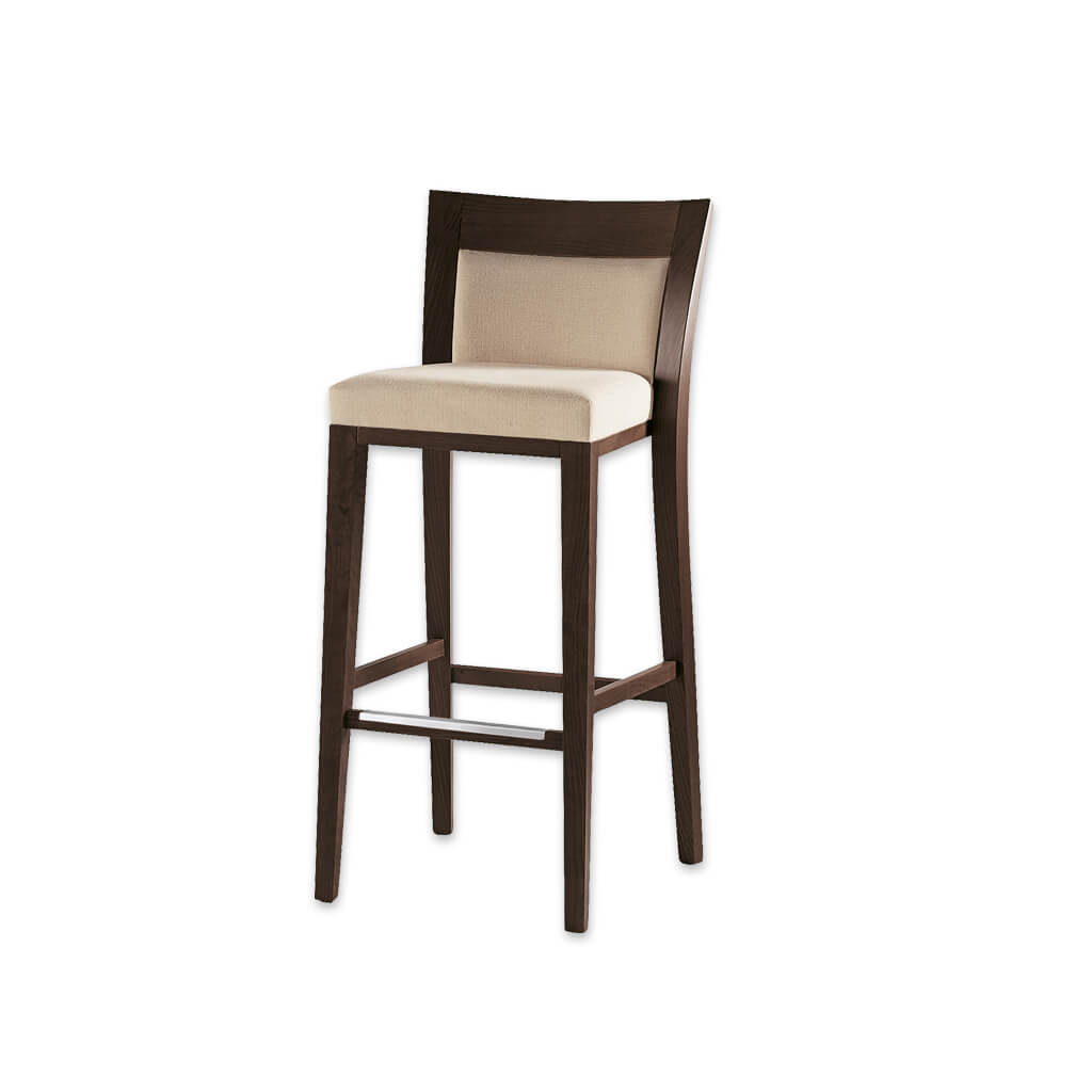 Logica square cream bar stool with show wood back and wooden frame with metal kick plate 6025 BR2 - Designers Image