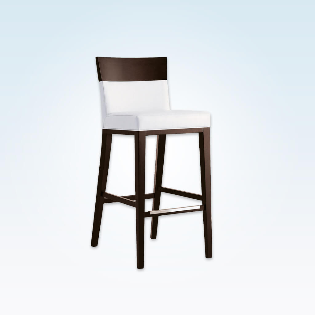 Logica white bar stool chairs with show wood back and sturdy timber legs with metal kick plate 6025 BR3