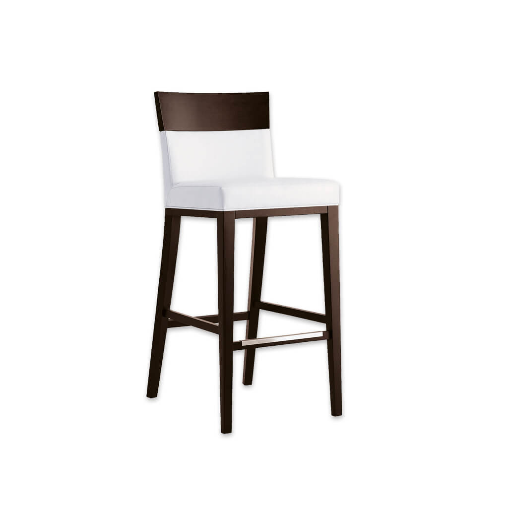 Logica white bar stool chairs with show wood back and sturdy timber legs with metal kick plate 6025 BR3 - Designers Image
