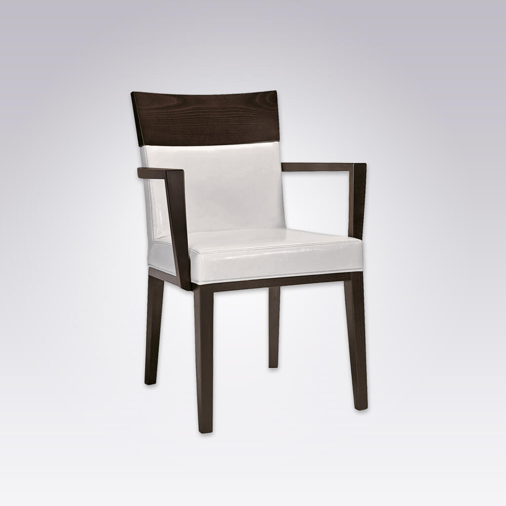 Logica Black and White Armchair with Timber Square Arms and Arched Back with Wooden Top Rail 4023 AC3