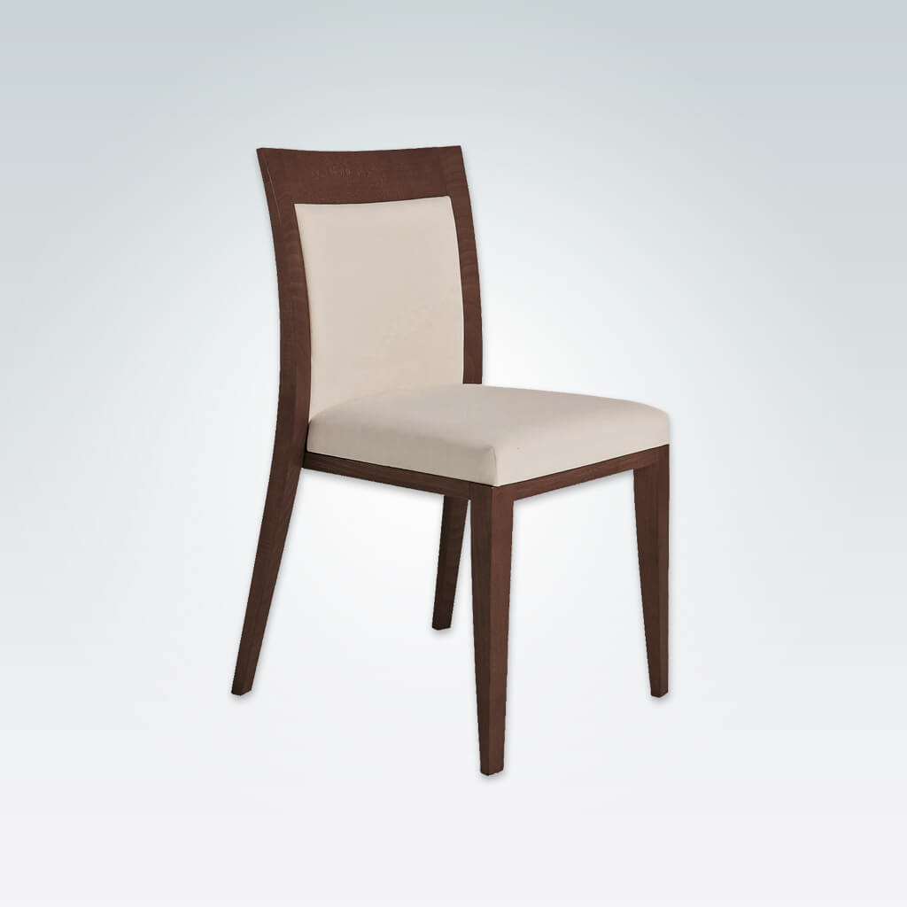 Logica Brown Wooden Dining Chair Upholstered Back and Seat pad with Wooden Surround and Curved Backrest 3047 RC1