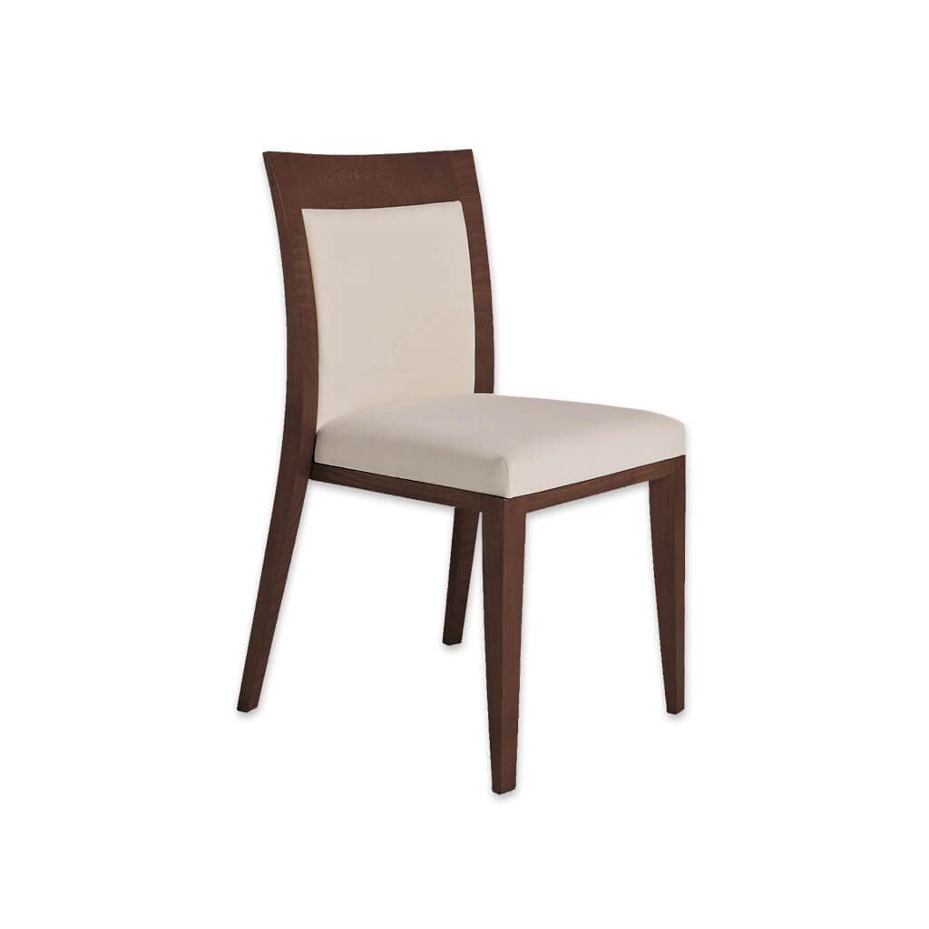 Logica Brown Wooden Dining Chair Upholstered Back and Seat pad with Wooden Surround and Curved Backrest 3047 RC1 - Designers Image