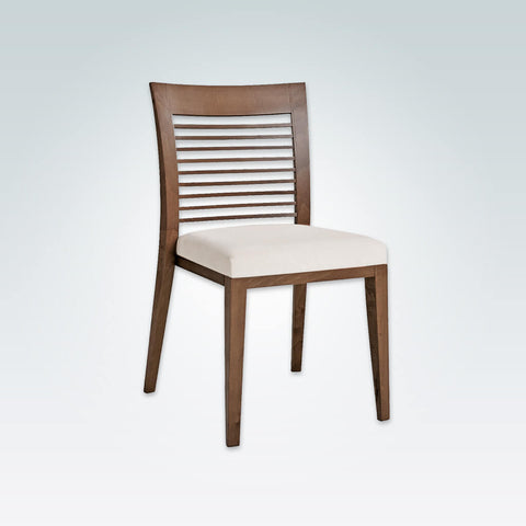 Logica Brown Wood Dining Chair with Ladder Back Detail and White Seat Pad 3047 RC2