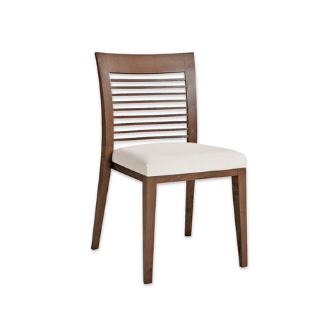 ... Logica Brown Wood Dining Chair With Ladder Back Detail And White Seat  Pad 3047 RC2