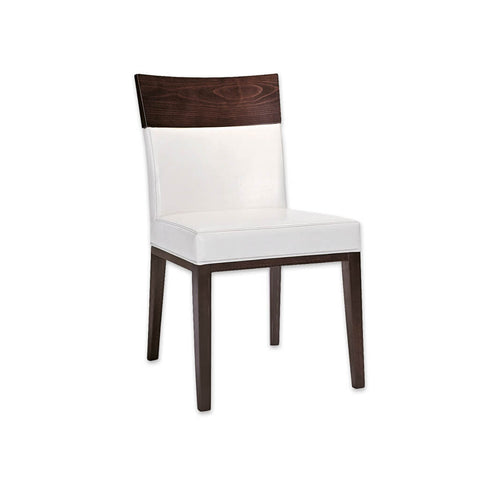 Logica White Upholstered Dining Room Chair with Brown Show Wood Legs and Top Rail 3047 RC3