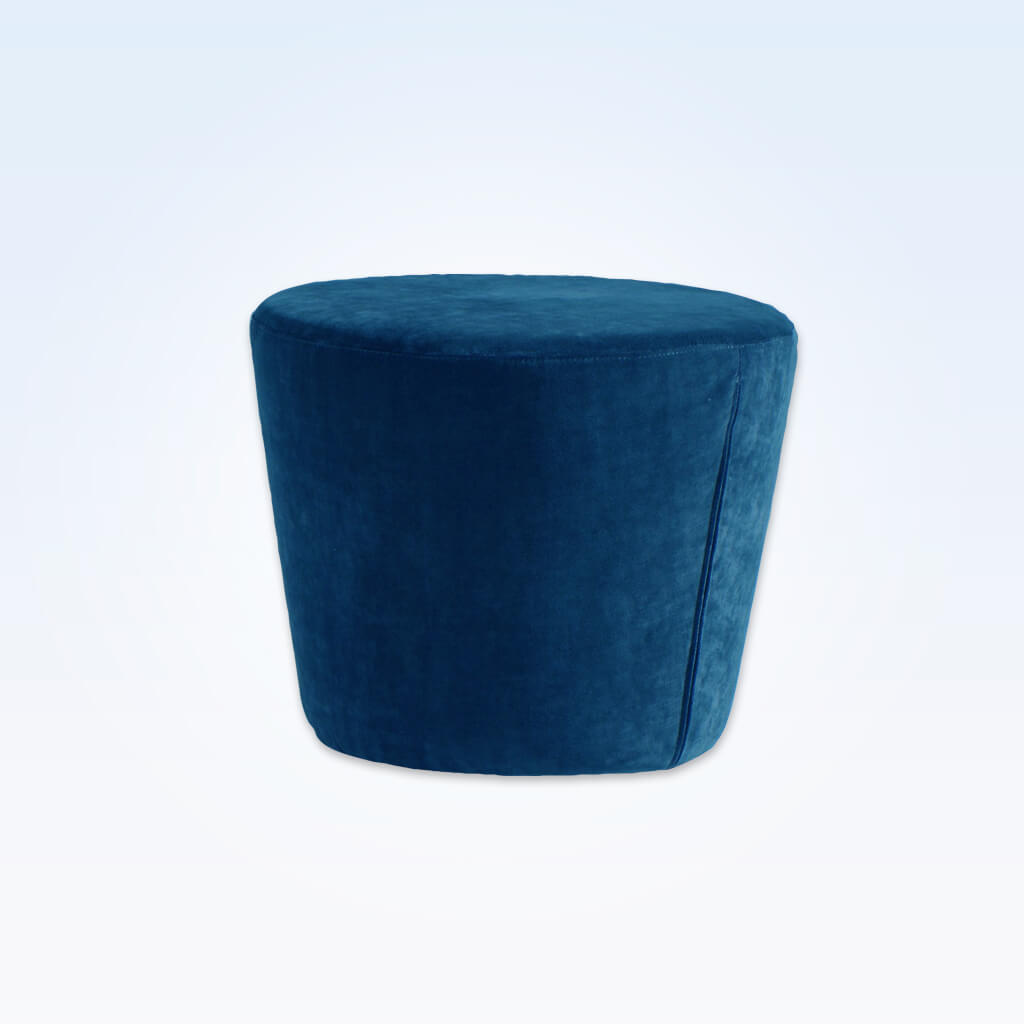 Lola blue round ottoman fully upholstered and padded 10009 OT1