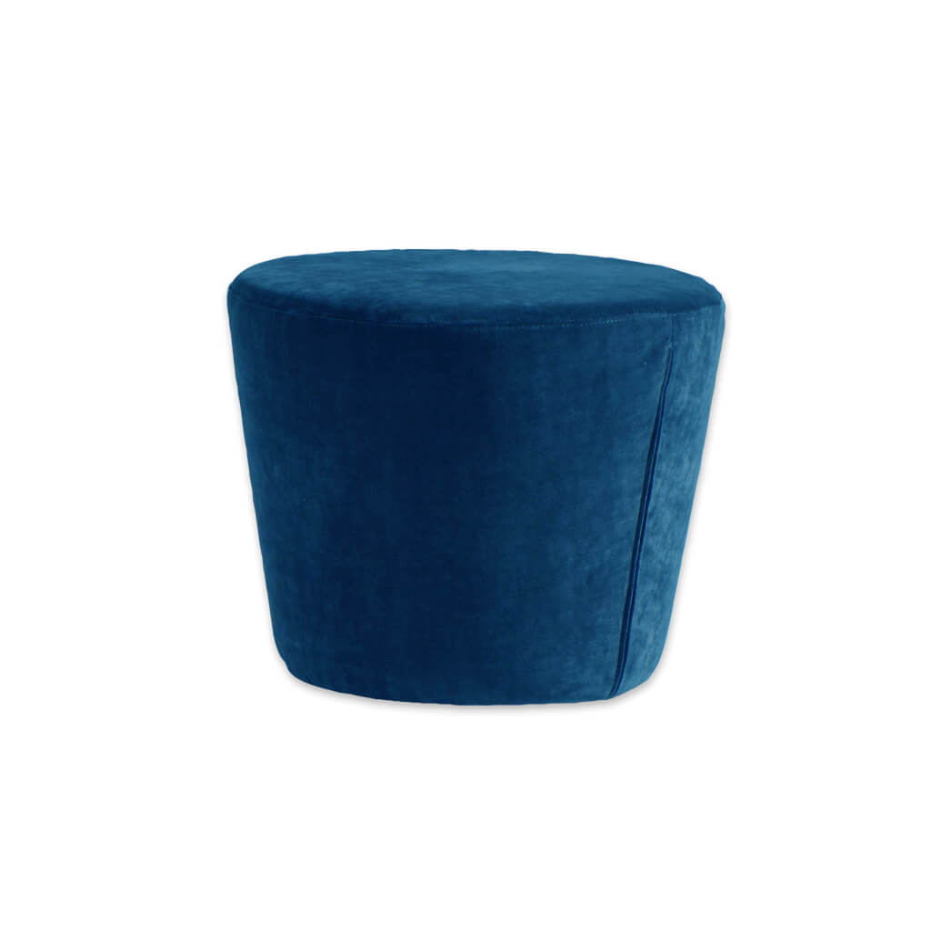 Lola blue round ottoman fully upholstered and padded 10009 OT1 - Designers Image