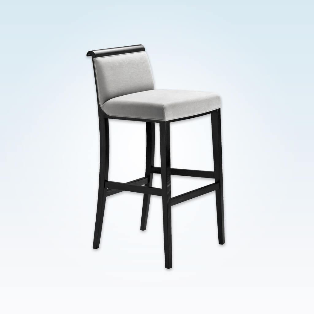 Lorenza silver grey bar stools with show wood scroll back and padded seat 6034 BR1