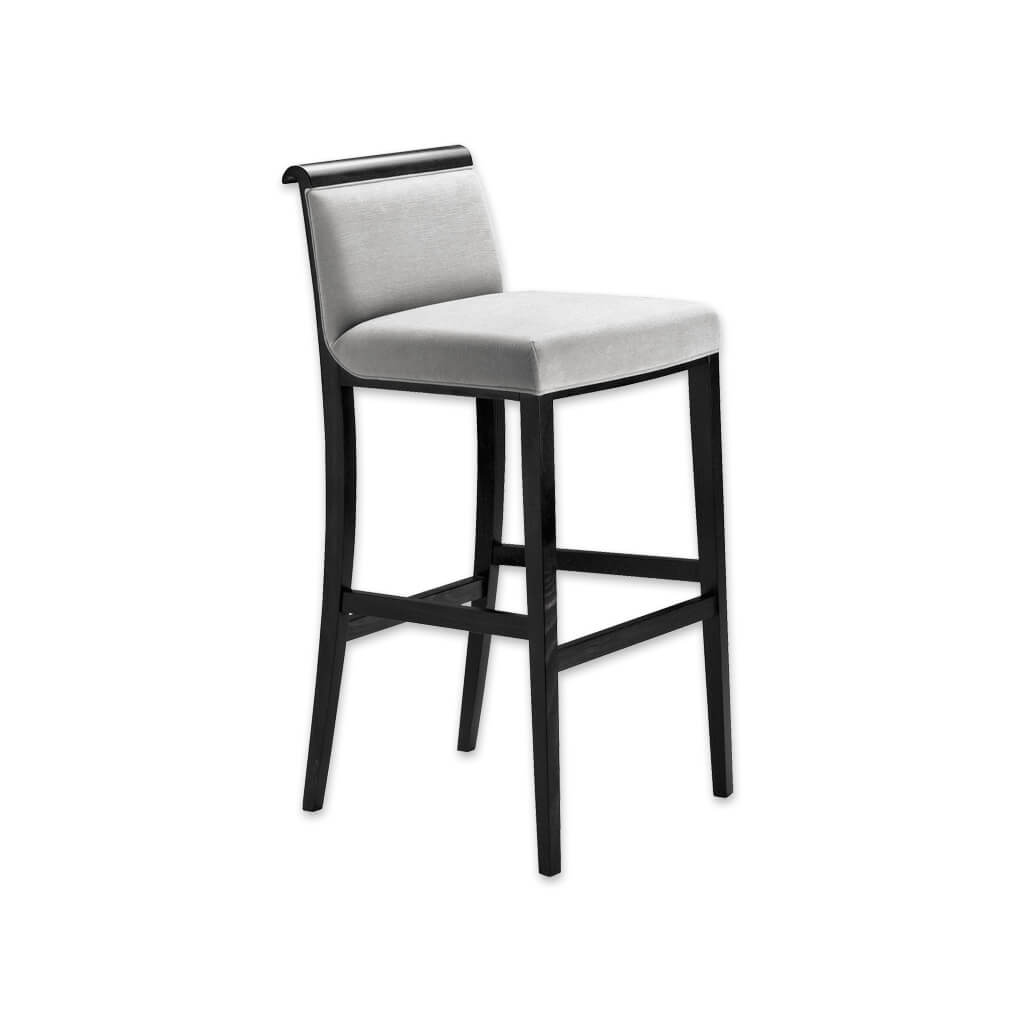 Lorenza silver grey bar stools with show wood scroll back and padded seat 6034 BR1 - Designers Image