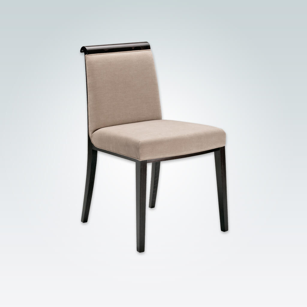 Lorenza Fabric Dining Chair Show Wood Scroll Top Grab Handle with Upholstery Seam Detail and Wenge Timber Legs 3058 RC1