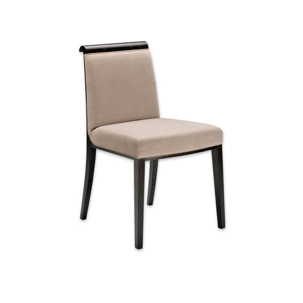Lorenza Fabric Dining Chair Show Wood Scroll Top Grab Handle with Upholstery Seam Detail and Wenge Timber Legs 3058 RC1 - Designers Image
