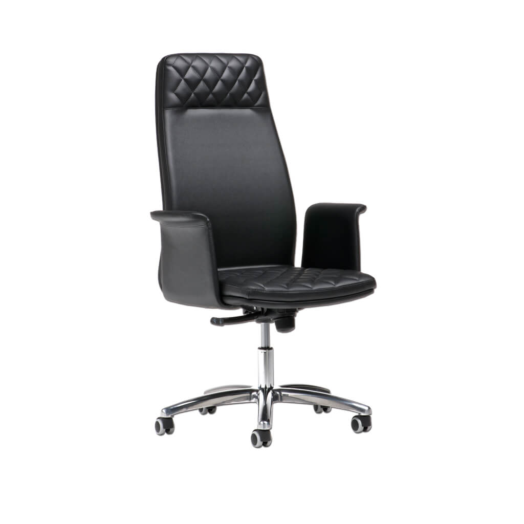 Lucas Upholstered Black Swivel Desk Chair with High Backrest 5024 DC1 - Designers Image