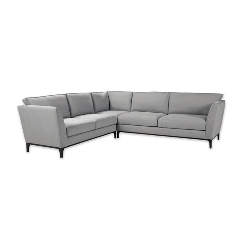 Grimaud grey material corner sofa with deep padded cushions and tapered legs 8034 SF1