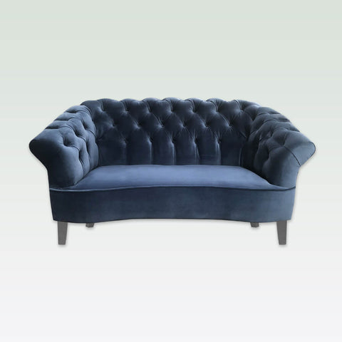 merida dark blue fabric sofa with deep buttoning to back with dove grey tapered feet - 8036 SF1
