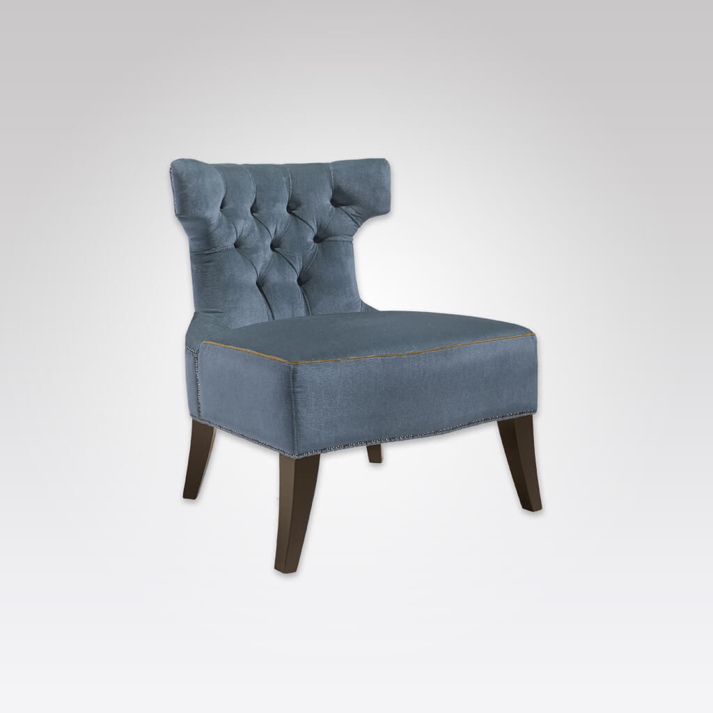 Luso Deep Buttoned Upholstered Light Blue Lounge Chair with Stud and Hammer Head Design 1041 LC1