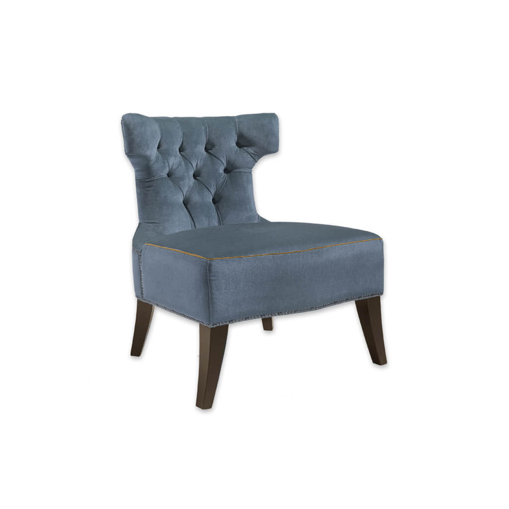 Luso Deep Buttoned Upholstered Light Blue Lounge Chair with Stud and Hammer Head Design 1041 LC1 - Designers Image