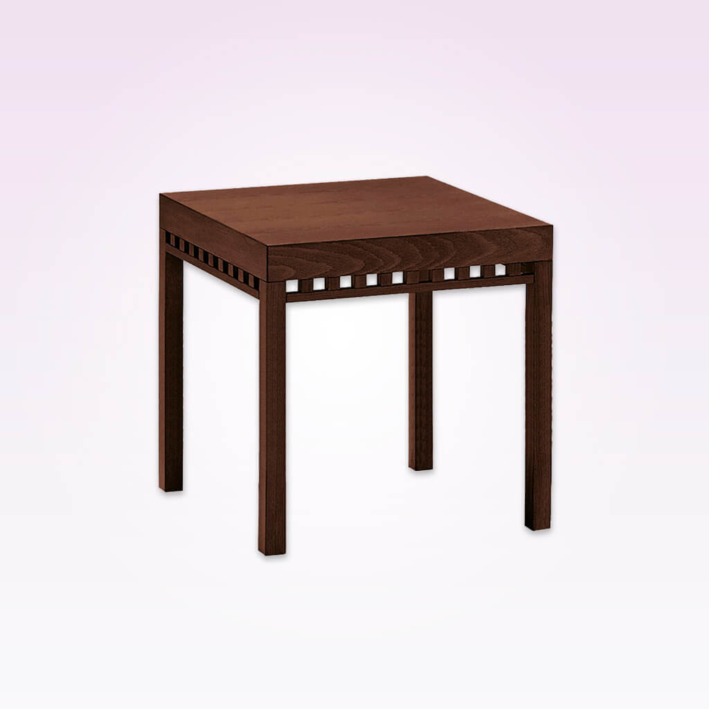 Luxe rectangular contemporary bar table with cut out detail to down stand. 1123