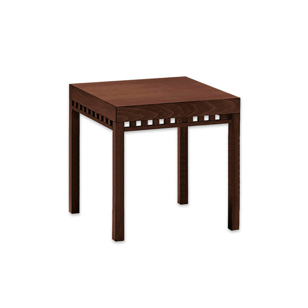 Luxe rectangular contemporary bar table with cut out detail to down stand. 1123 - Designers Image