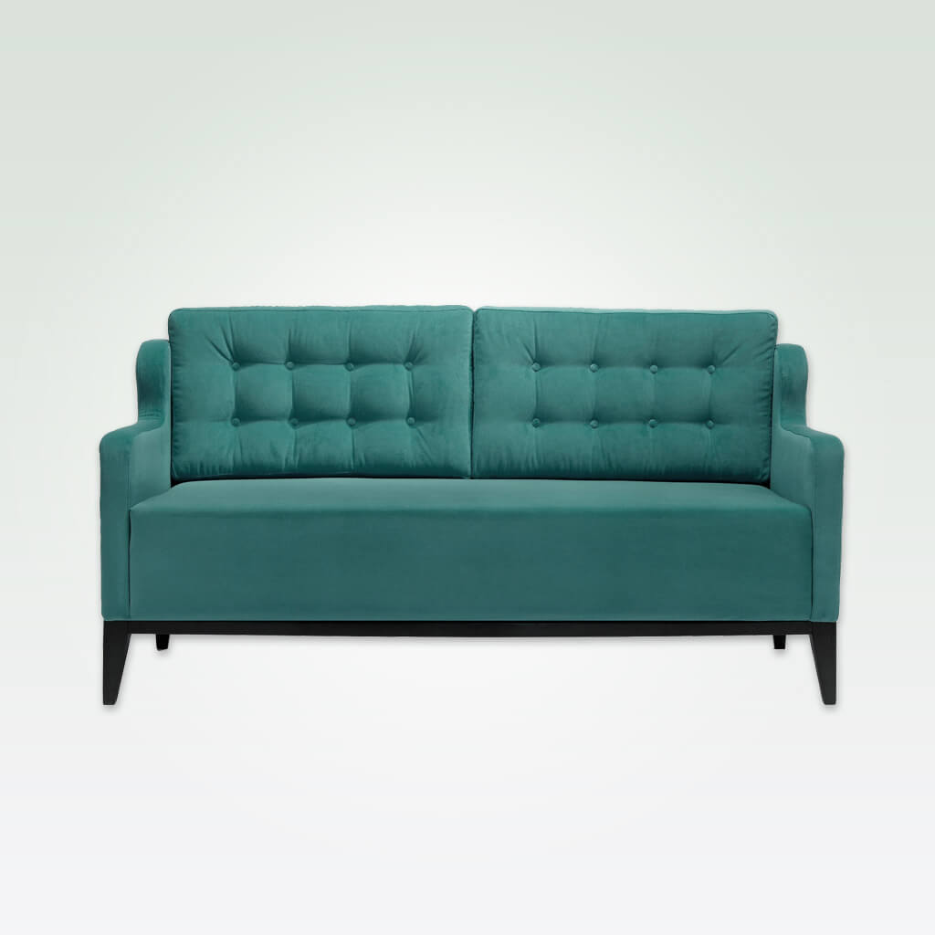 Lydia modern green sofa with angular arms, deep seat cushioning and buttoning to the backrest 8008 SF1