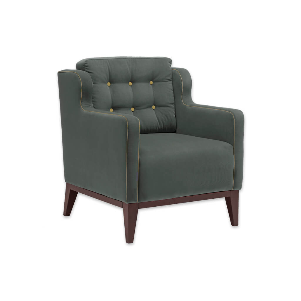 Lydia Upholstered Green Button Armchair Back Cushion with Piping and Timber Legs 1013 LC1 - Designers Image
