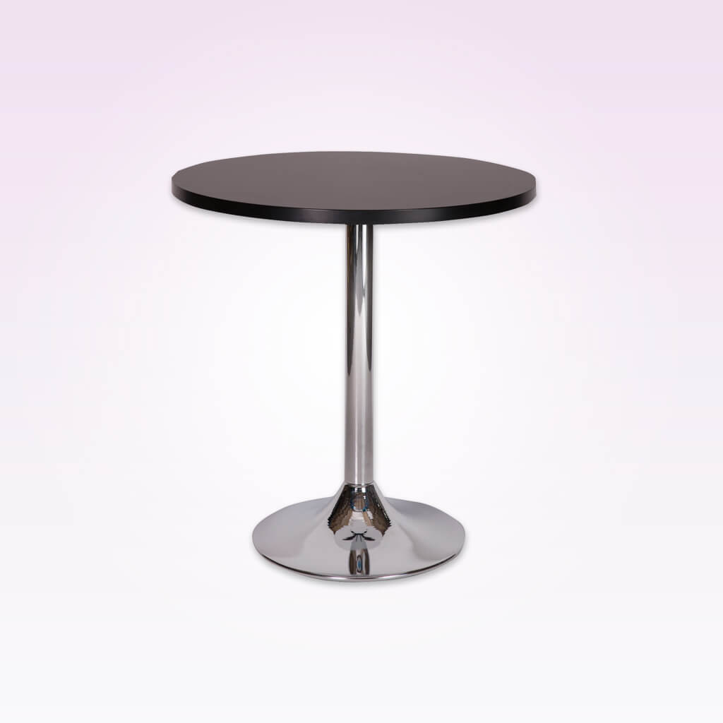 Lyka round silver dining table with metal pedestal base and round wood top. 1124
