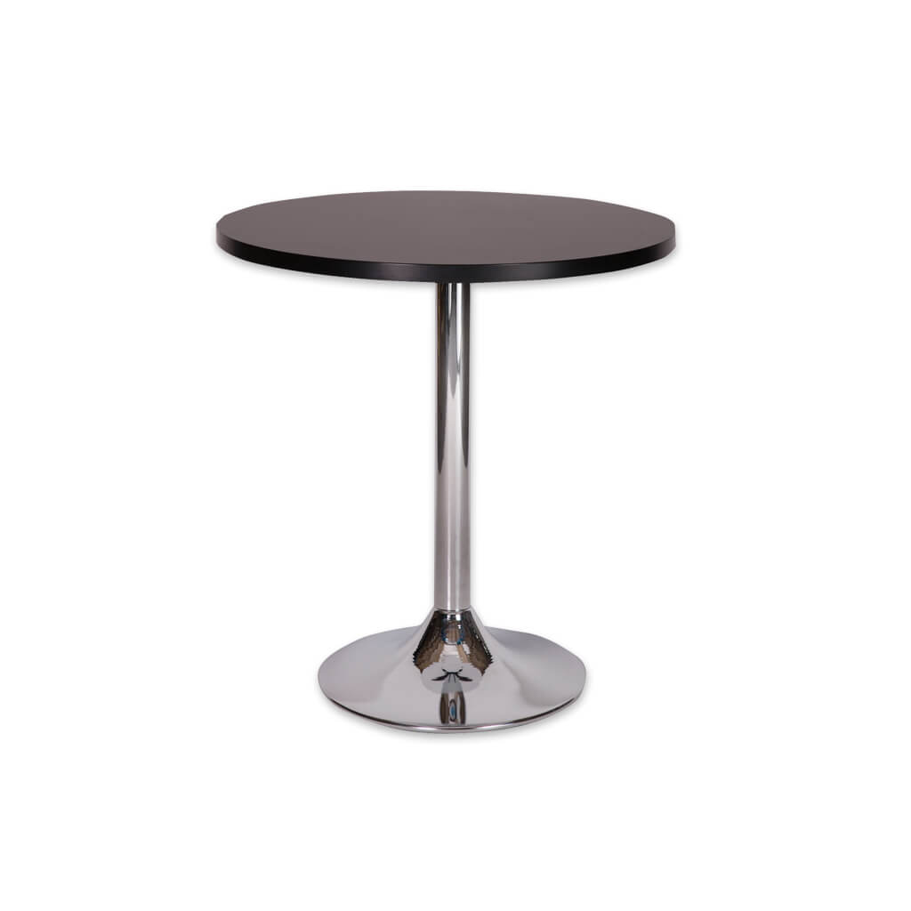 Lyka round silver dining table with metal pedestal base and round wood top. 1124 - Designer Image