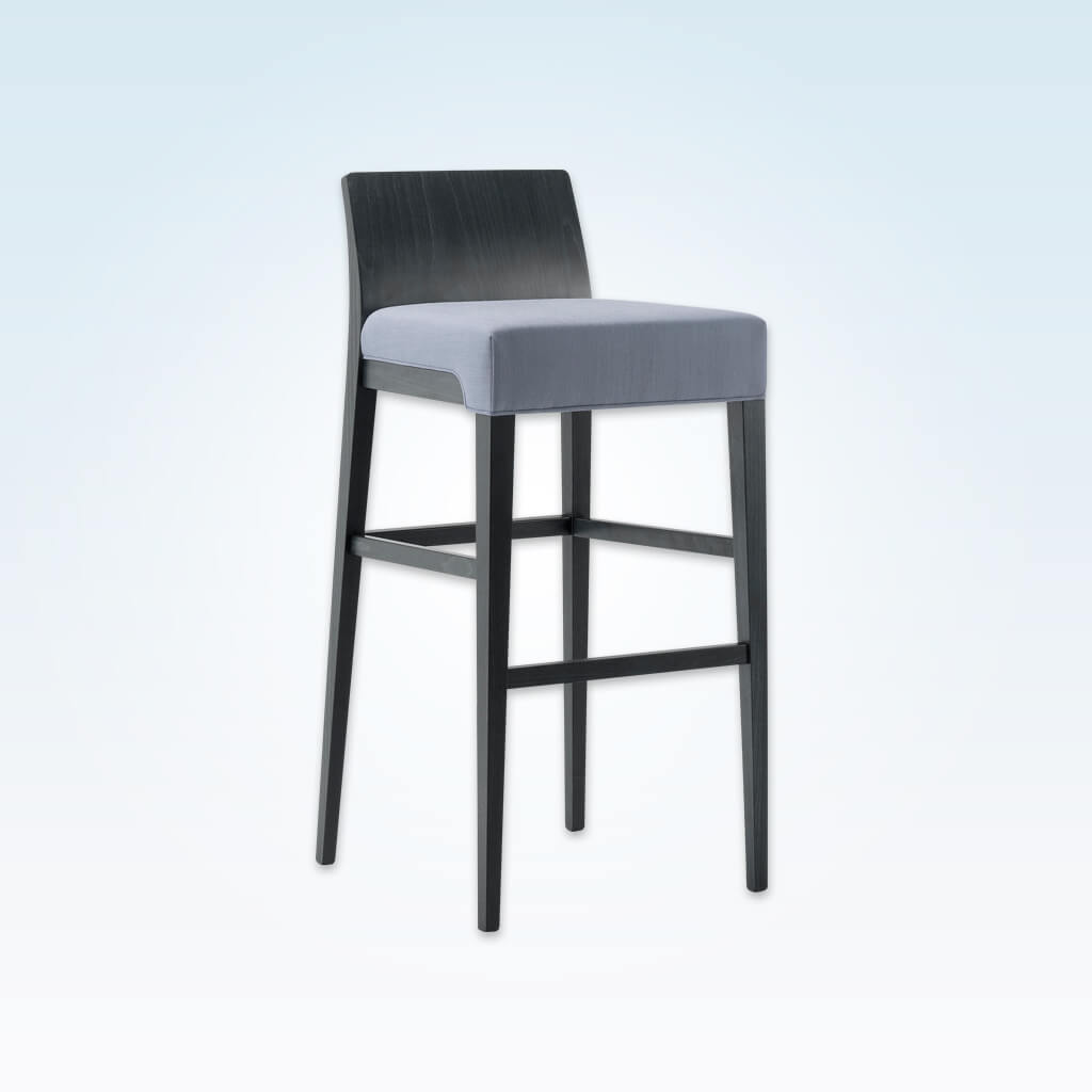Madison purple bar stool with square seat and show wood back 6028 BR2