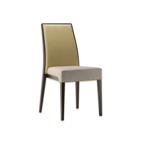 Madison Yellow Upholstered Dining Chair Curved High Back Two Tone Fabric and Contrasting Piping Detail 3052 RC1