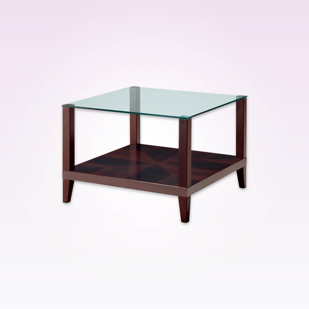 Magra square glass top bar table with wooden frame and shelf. 1126