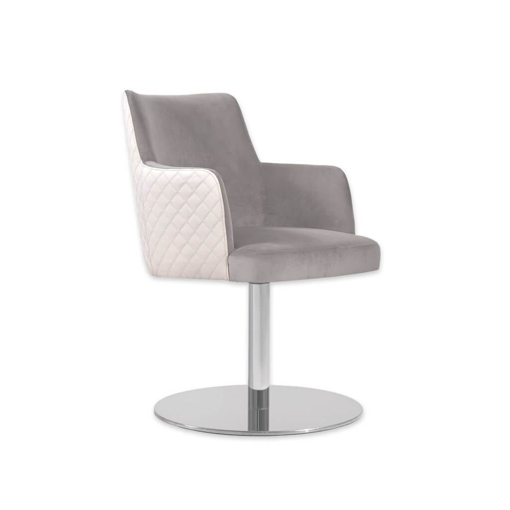 Maloka Upholstered White and Grey Desk Chair with Padded Seat and Outer Quilting 5022 DC1 - Designers Image