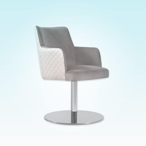 Maloka Upholstered White and Grey Desk Chair with Padded Seat and Outer Quilting 5022 DC1