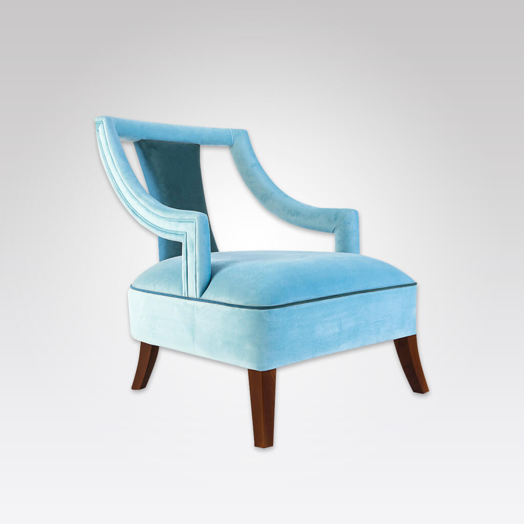 Marlu blue lounge chair with piping 1072 LC1