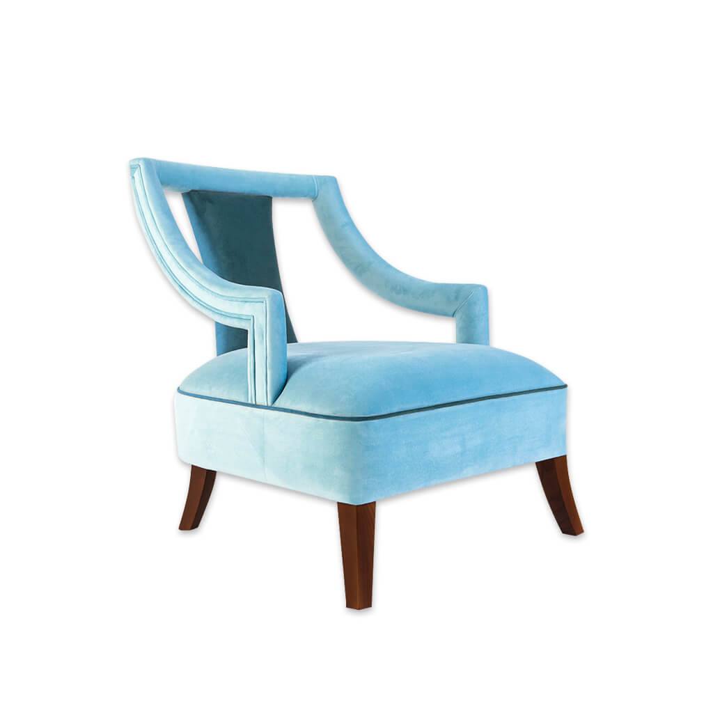 Marlu blue lounge chair with piping 1072 LC1 - Designers Image