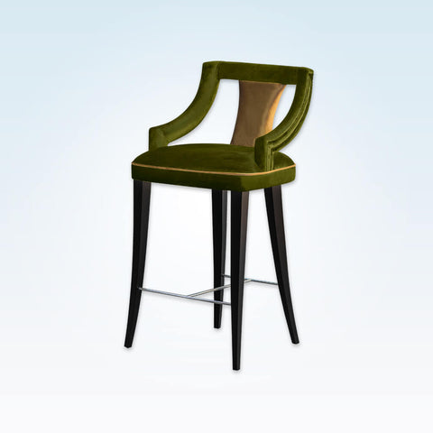 Marlu sage green bar stool with upholstered sat and piping detail 6060 BR1