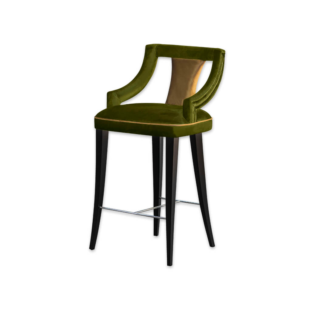 Marlu sage green bar stool with upholstered sat and piping detail 6060 BR1 - Designers Image