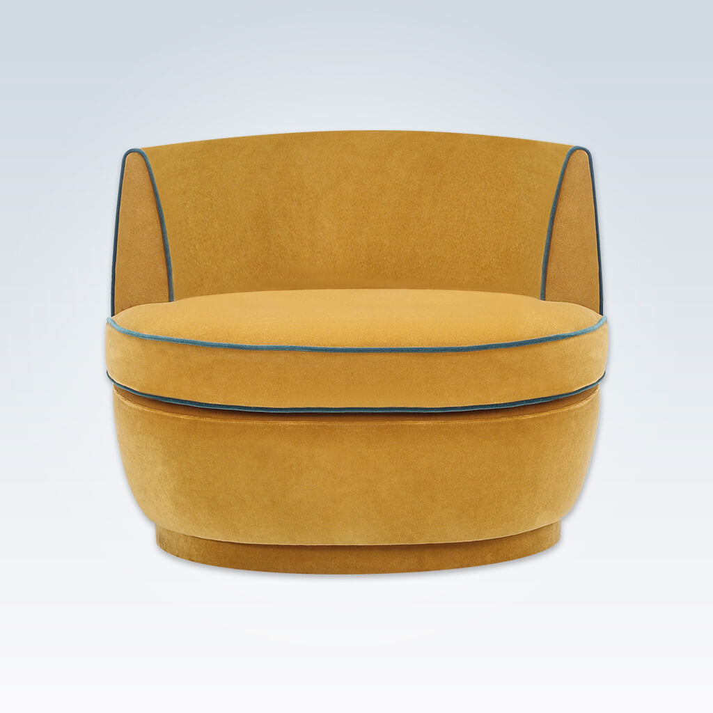 Martina mustard yellow accent chair with low curved back and large deep padded cushion 7013 AT1