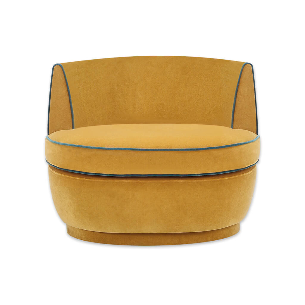 Martina mustard yellow accent chair with low curved back and large deep padded cushion 7013 AT1 - Designer Image
