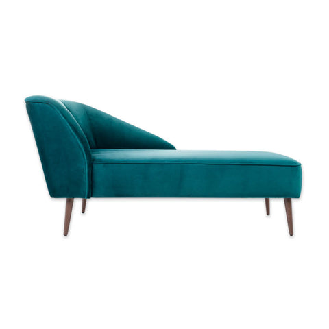 Martinez Contemporary Turquoise Chaise Longue With Sloped Rest And Tall Cylindrical Legs 14000 CL1