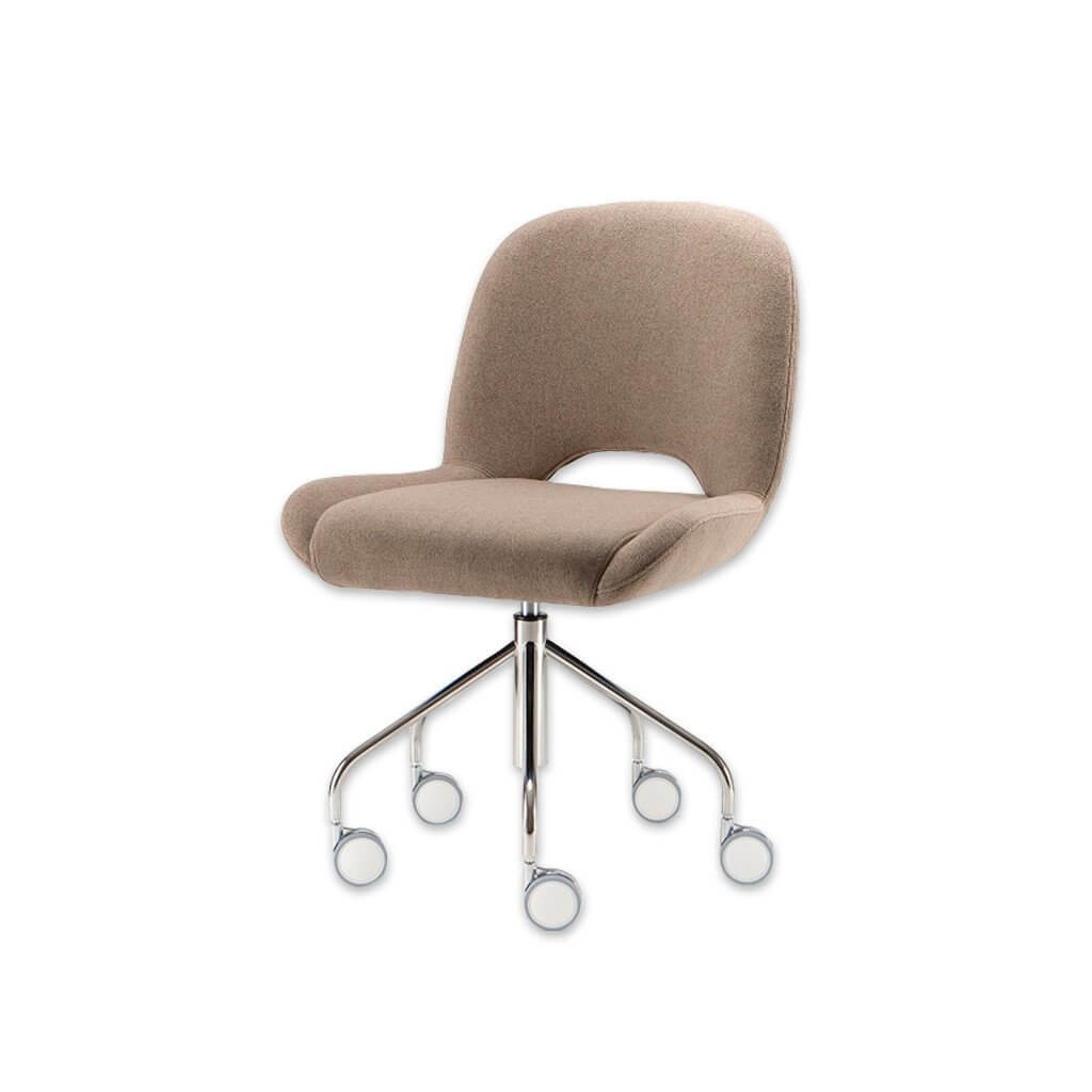 Mateo Fully Upholstered Light Brown Desk Chair with Five Star Base and Large Modern Castors 5012 DC1 - Designers Image
