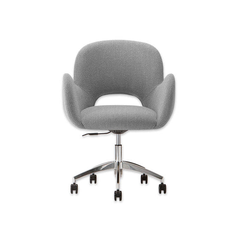 Mateo Swivel Grey Fabric Desk Chair with Fully Upholstered Seat Five Star Base and Cut Out Back Detail 5012 DC2