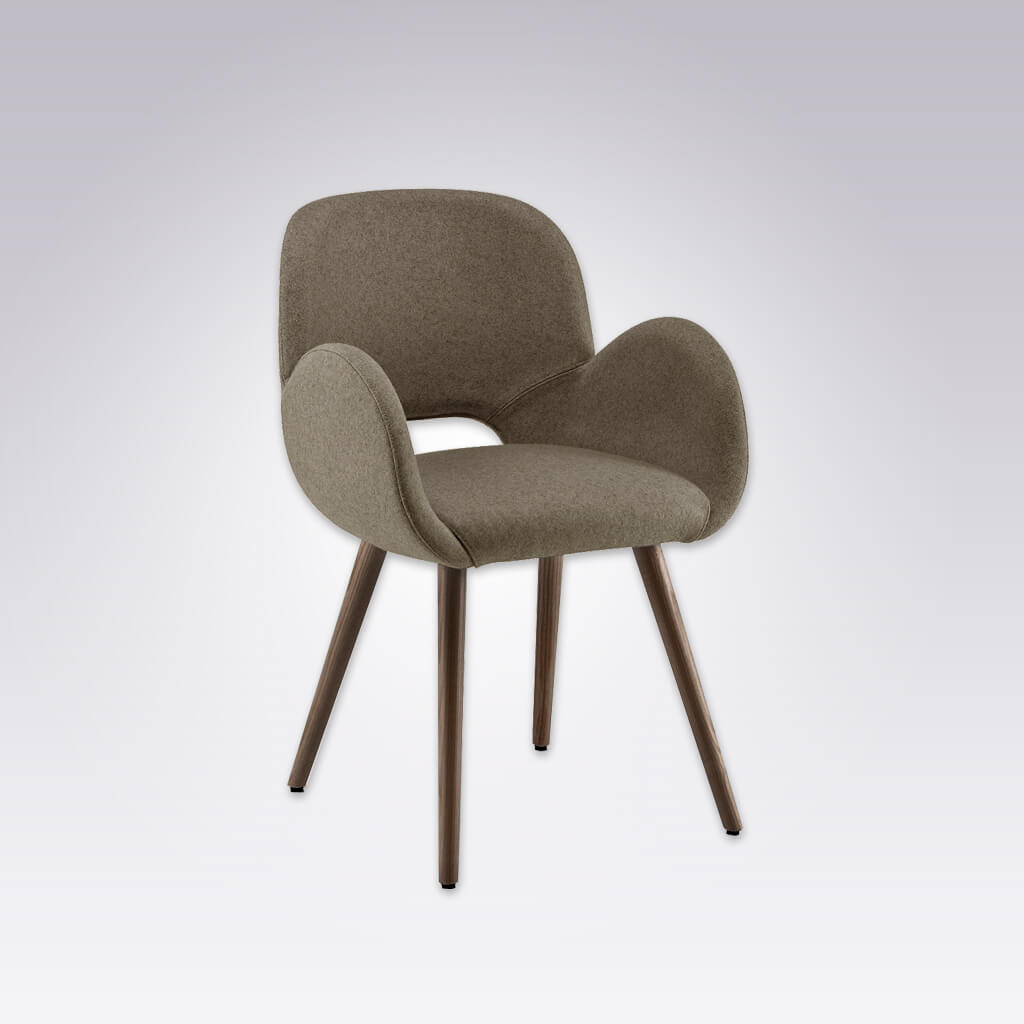 Mateo Rounded Sage Armchair with Keyhole Back and Conical Legs 4004 AC1