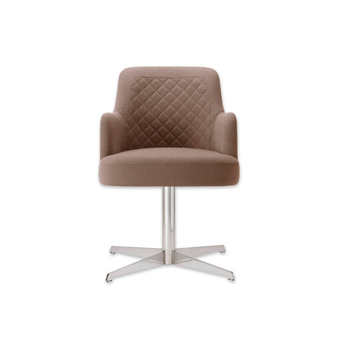 Matisse Fully Upholstered Brown Desk Chair with Flat Four Star Swivel Base and Quilted Detail to Back 5005 DC1