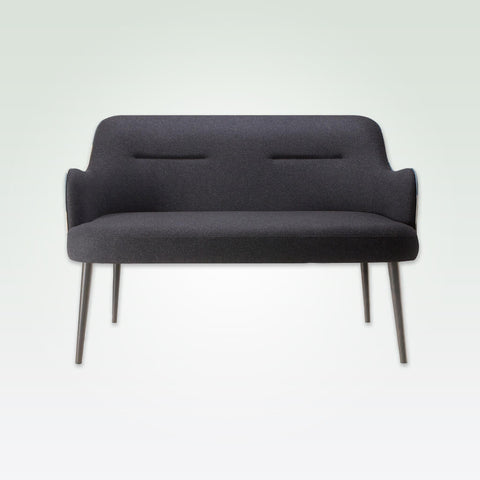 Matisse dark grey fabric sofa with modern curved arms and conical tapered legs 8014 SF1