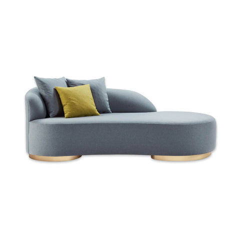 Menta modern grey chaise longue with round metal feet and curved shape 1404 CL1