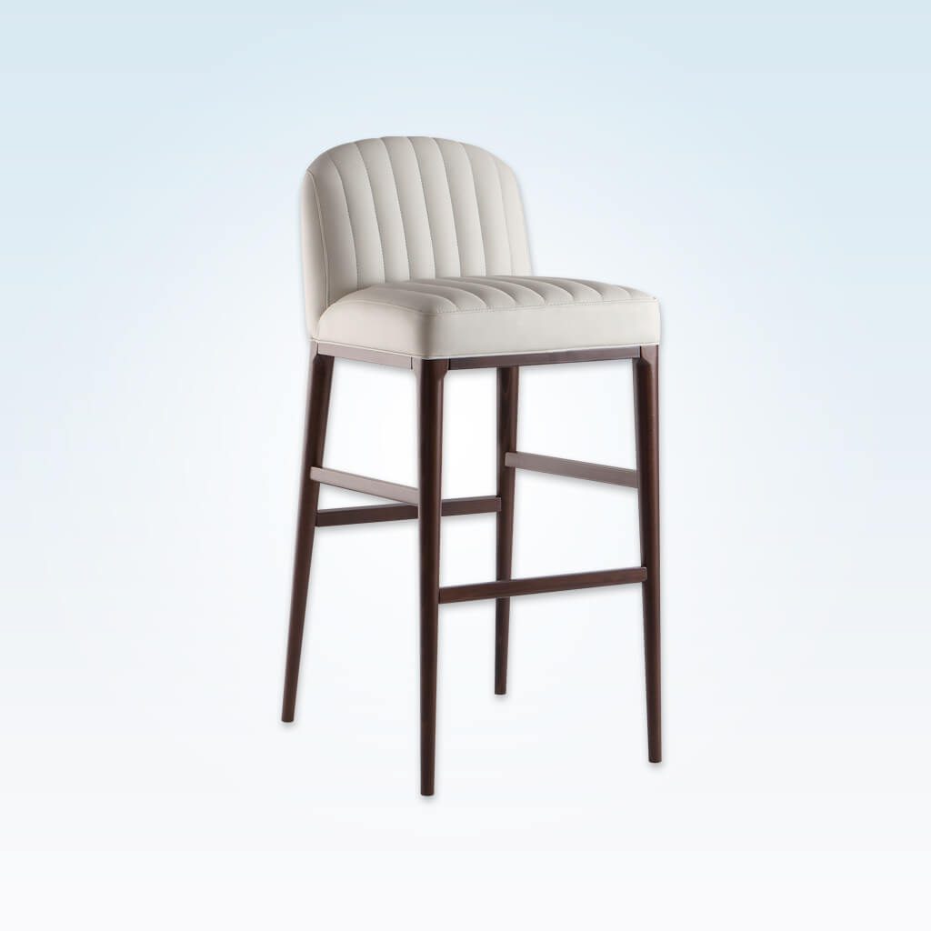Miami off white bar stools with decorative stitching to the seat and back and slim timber legs 6041 BR1