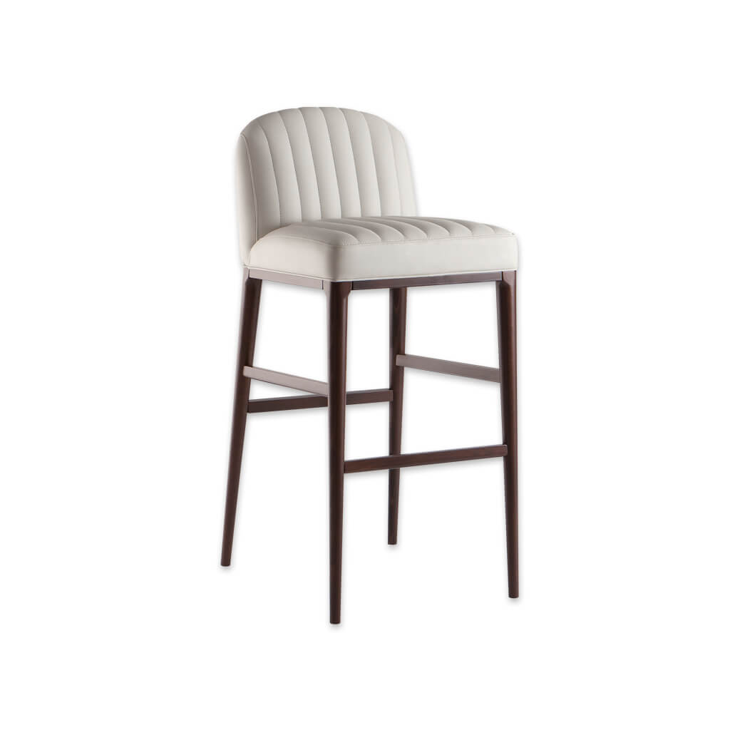 Miami off white bar stools with decorative stitching to the seat and back and slim timber legs 6041 BR1 - Designers Image